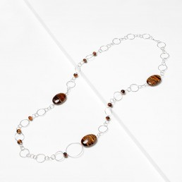 Silver-chain-necklace-with-tiger-eye