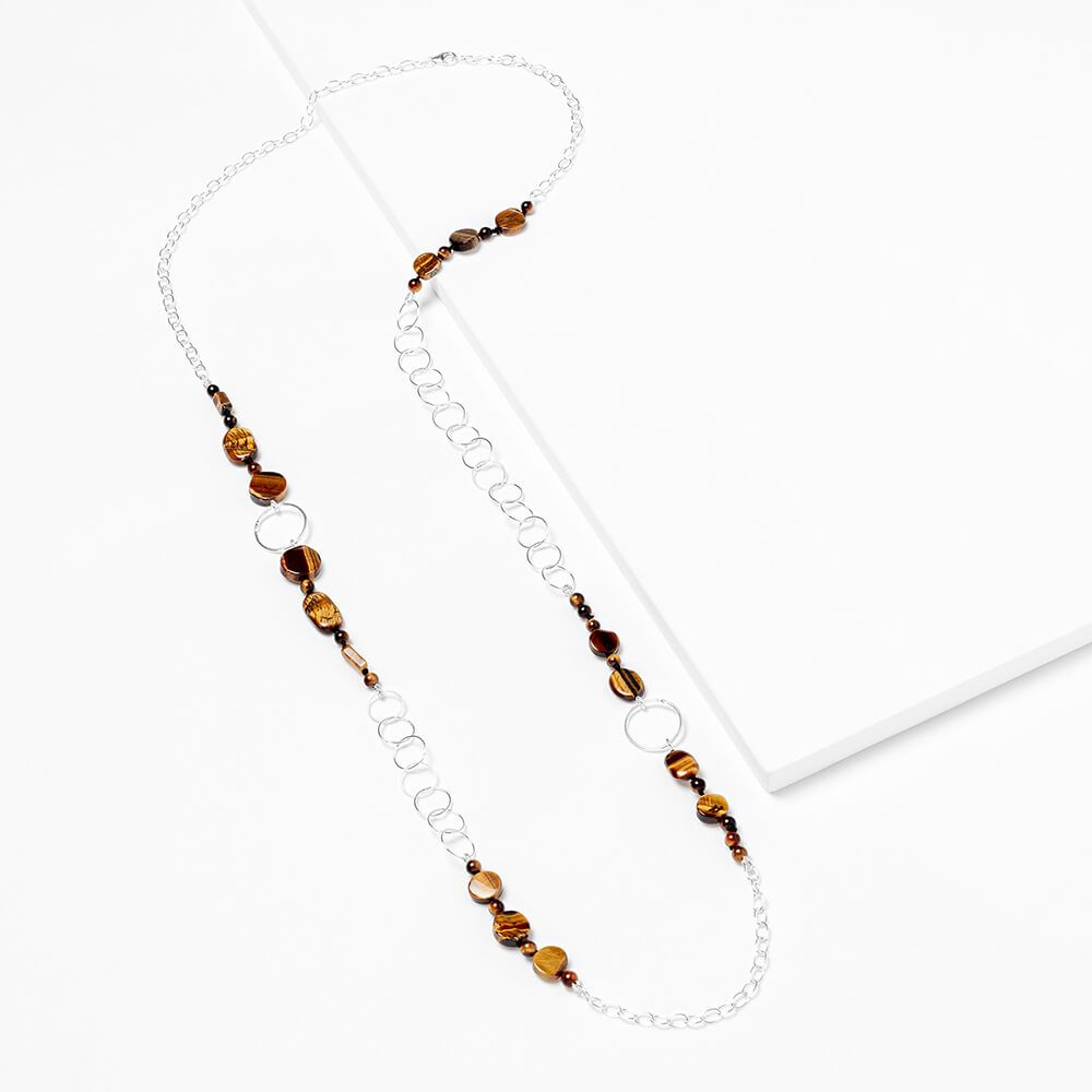 tiger-eye-and-silver necklace