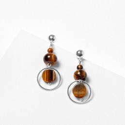 Tiger-eye-silver-earrings