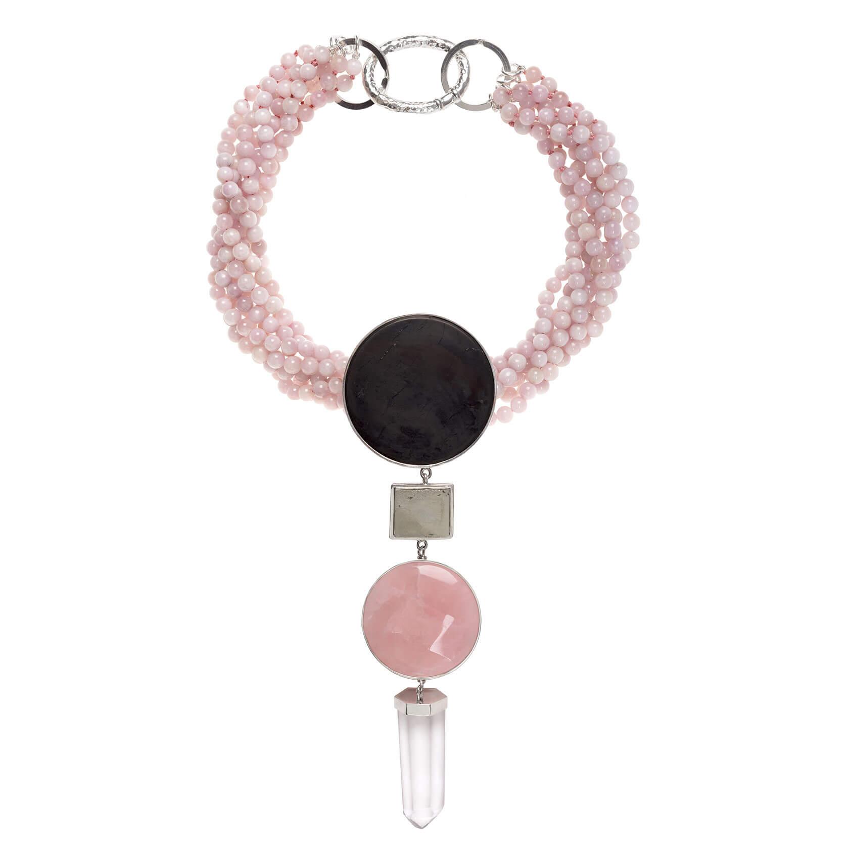 collar con morganita, shungit, cuarzo rosa cuarzo cristal y pirita