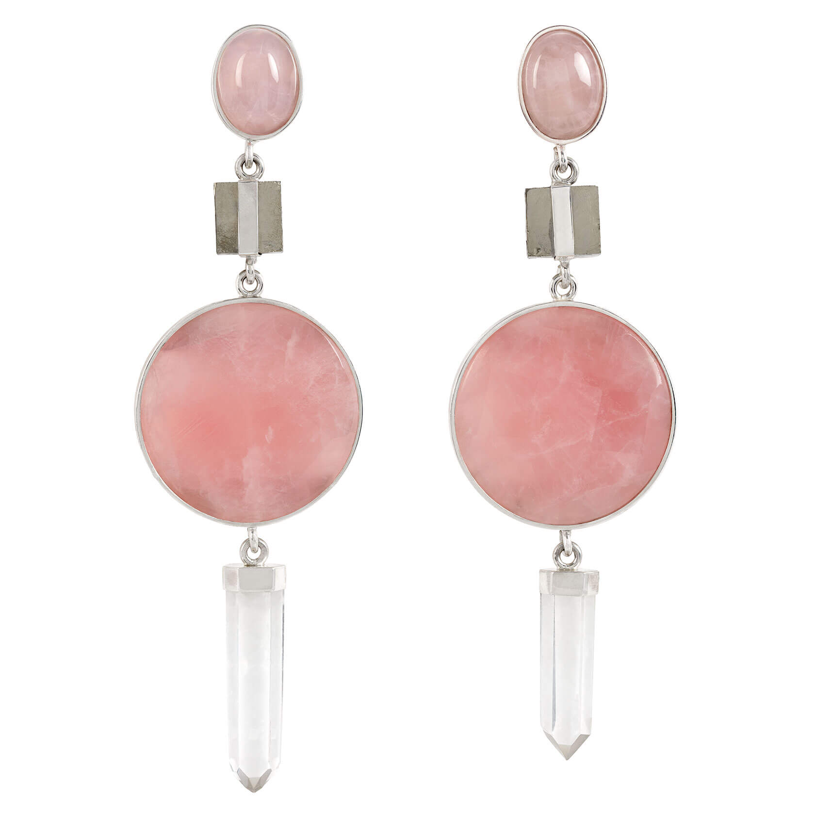 pendinetes cuarzo rosa, cuarzo cristal y pirita
