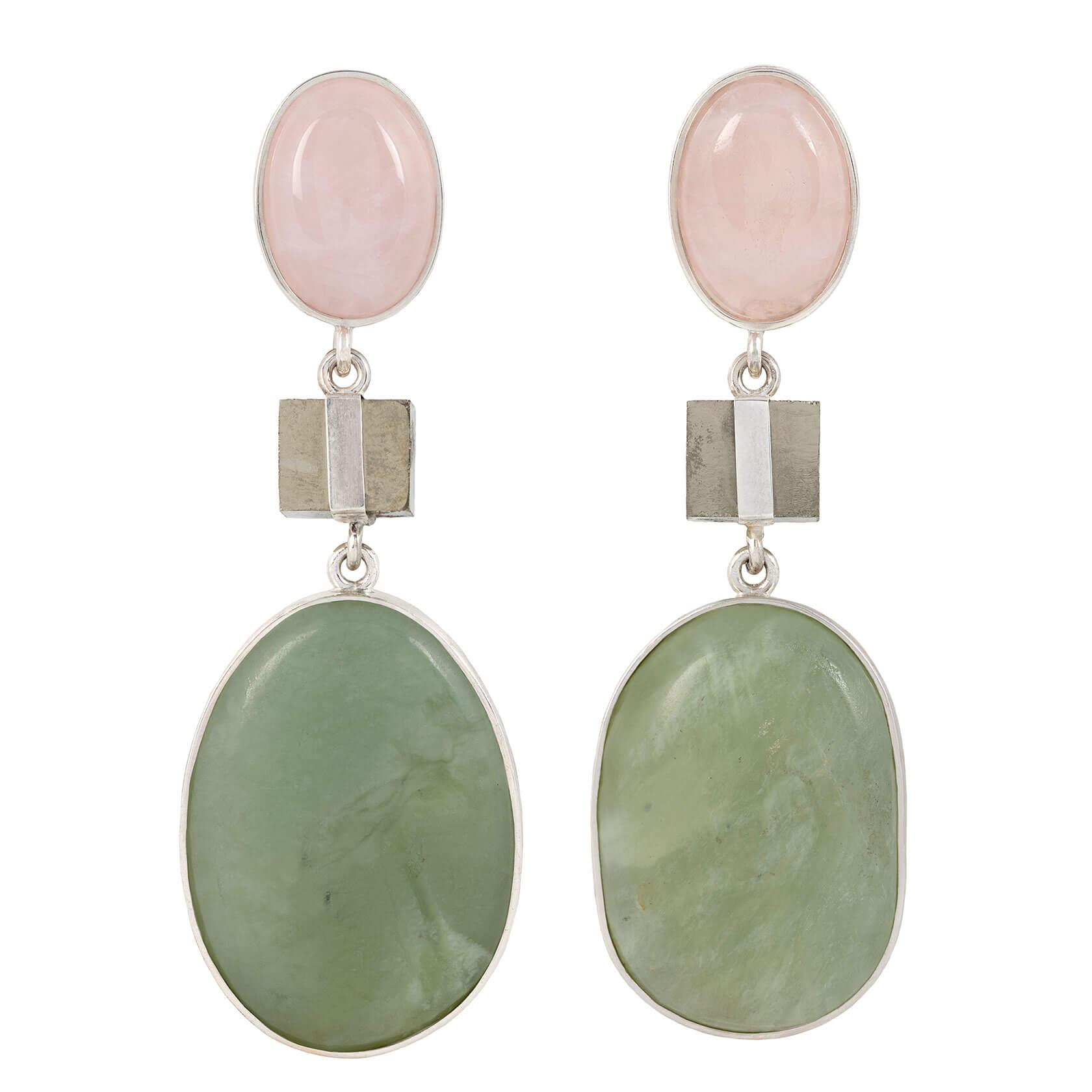 pendientes cuarzo rosa, pirita y jade verde