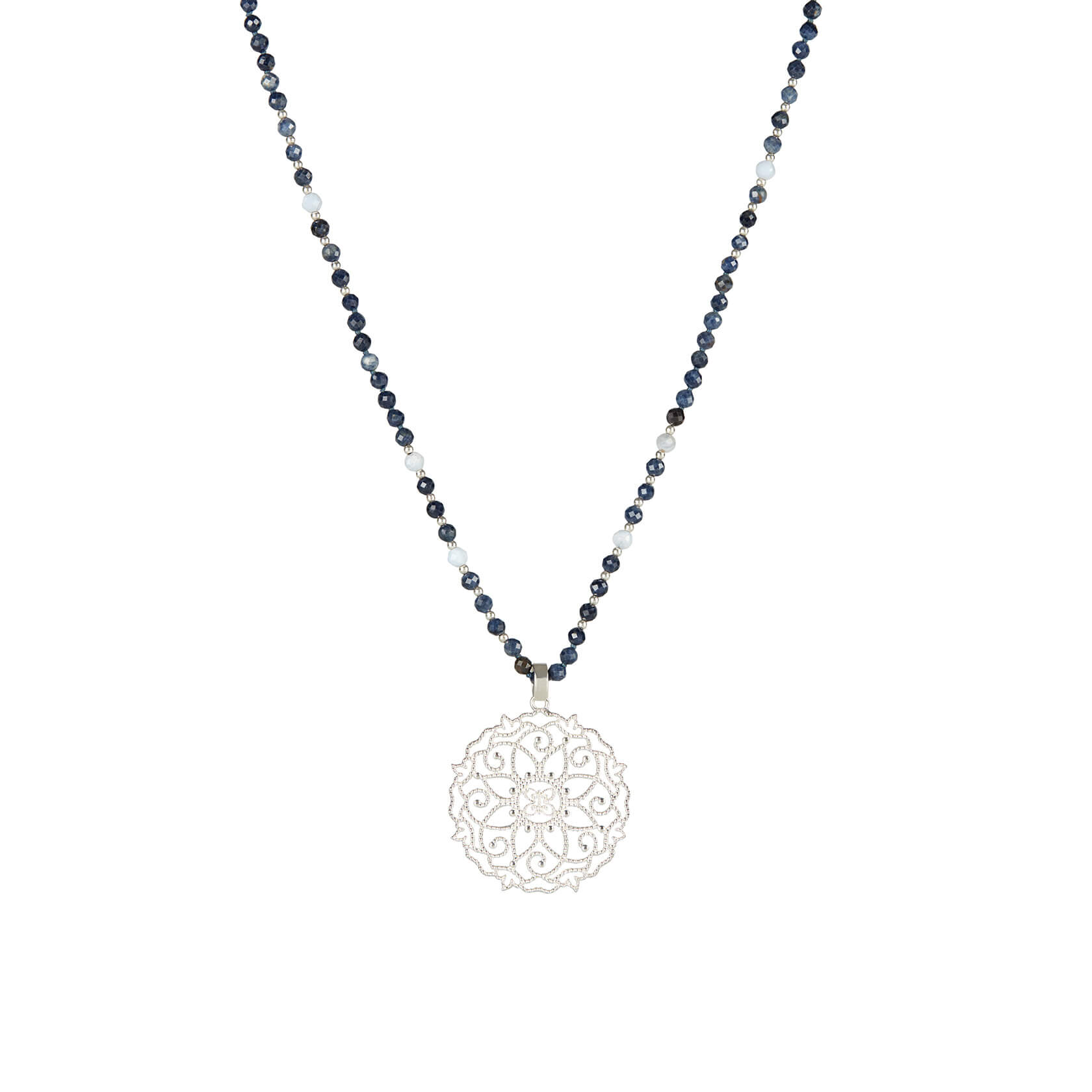 sapphire and chalcedony necklace