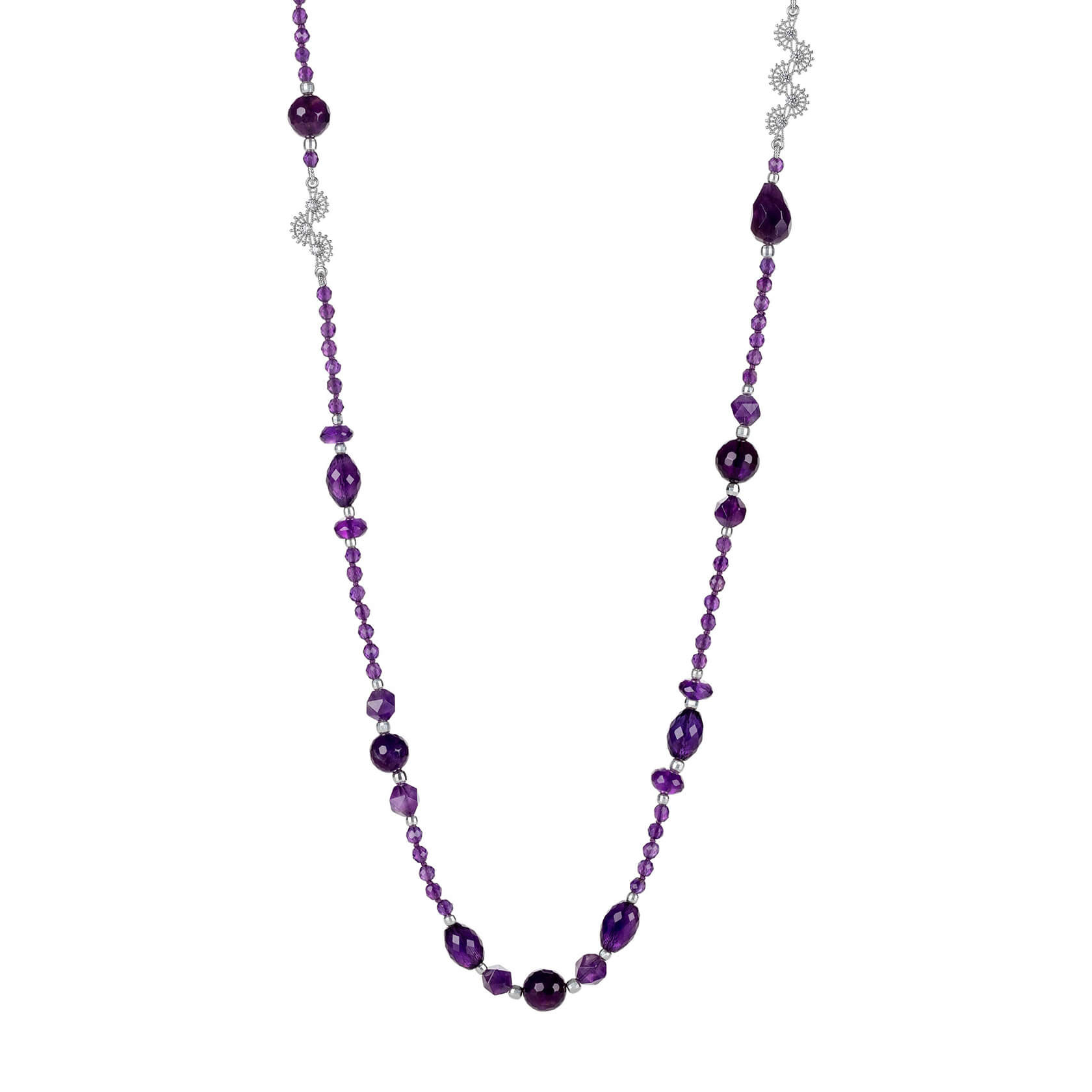 Long amethyst and silver necklace