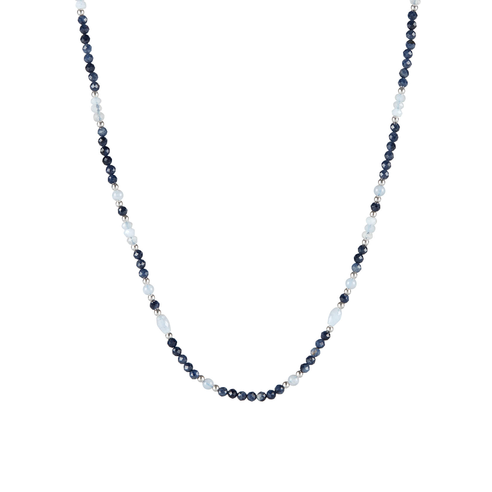 sapphire and chalcedony choker