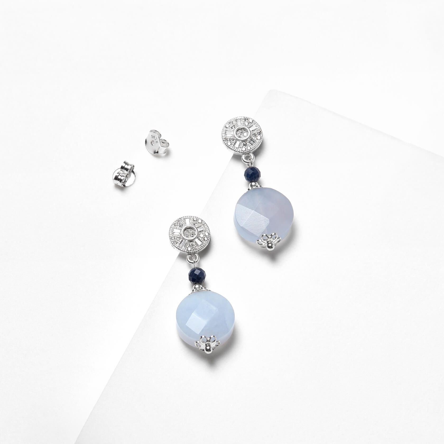 chalcedony and sapphire earrings marybola