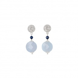 chalcedony and sapphire earrings