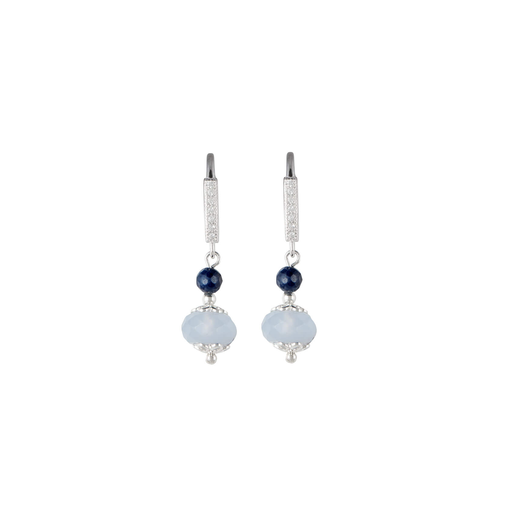 Chalcedony hook earrings with sapphire
