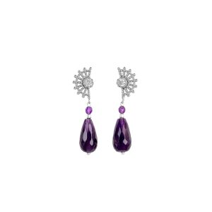 Drop amethyst and silver earrings