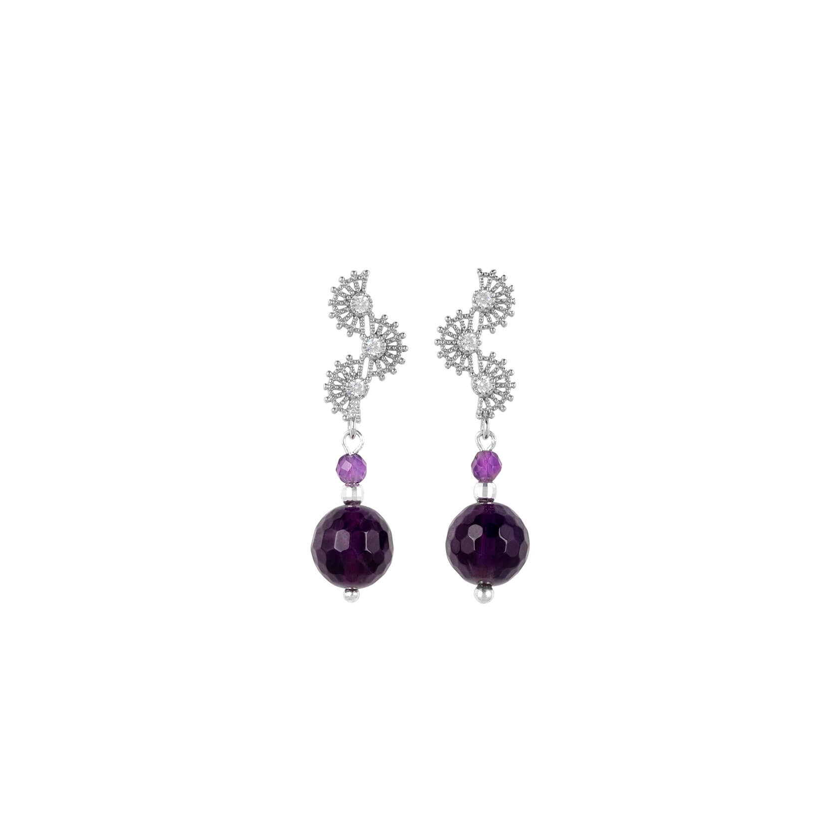 Long amethyst earrings with silver