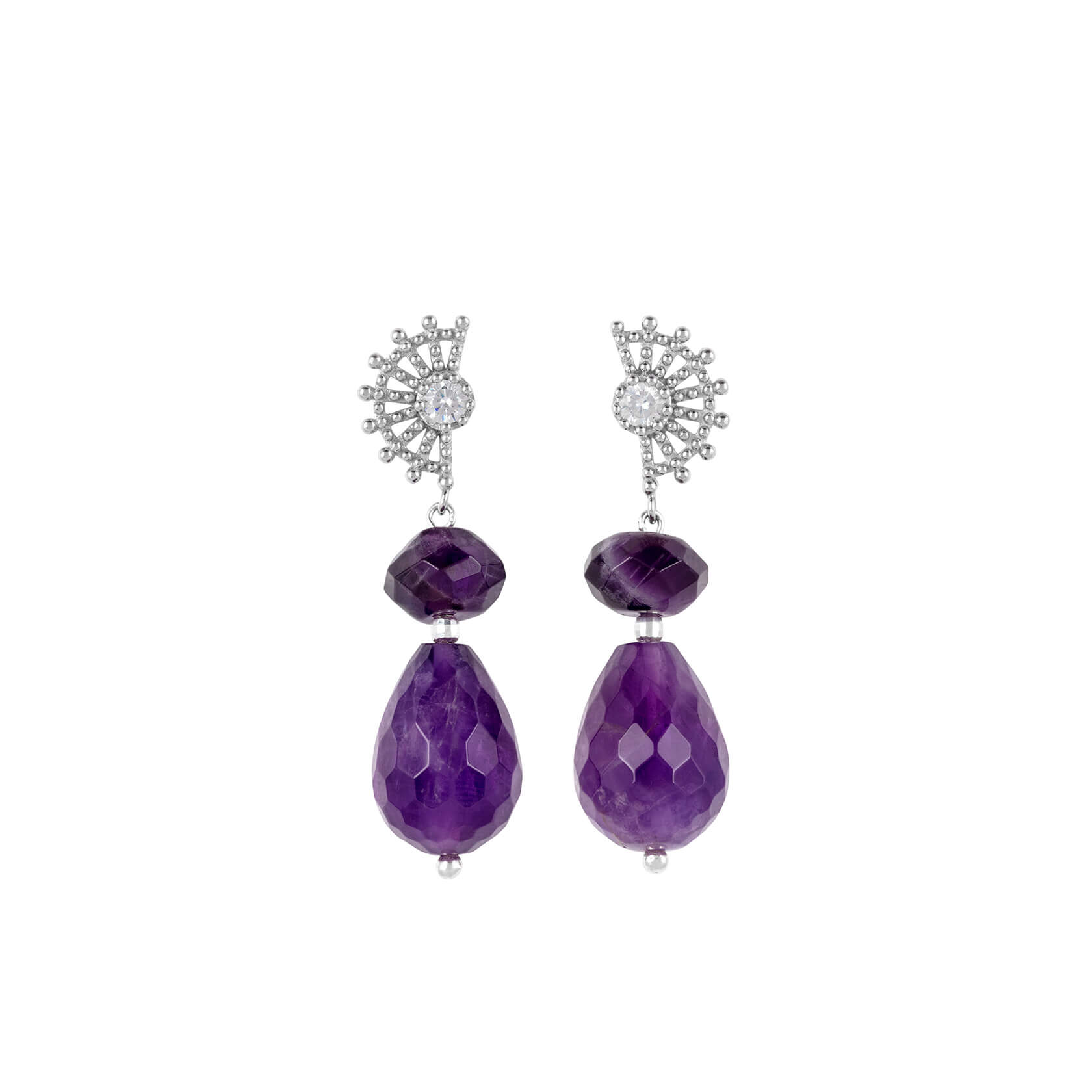 Big amethyst earrings