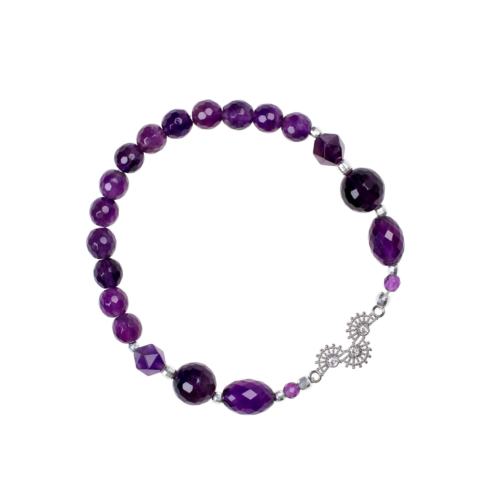 Elastic amethyst bracelet