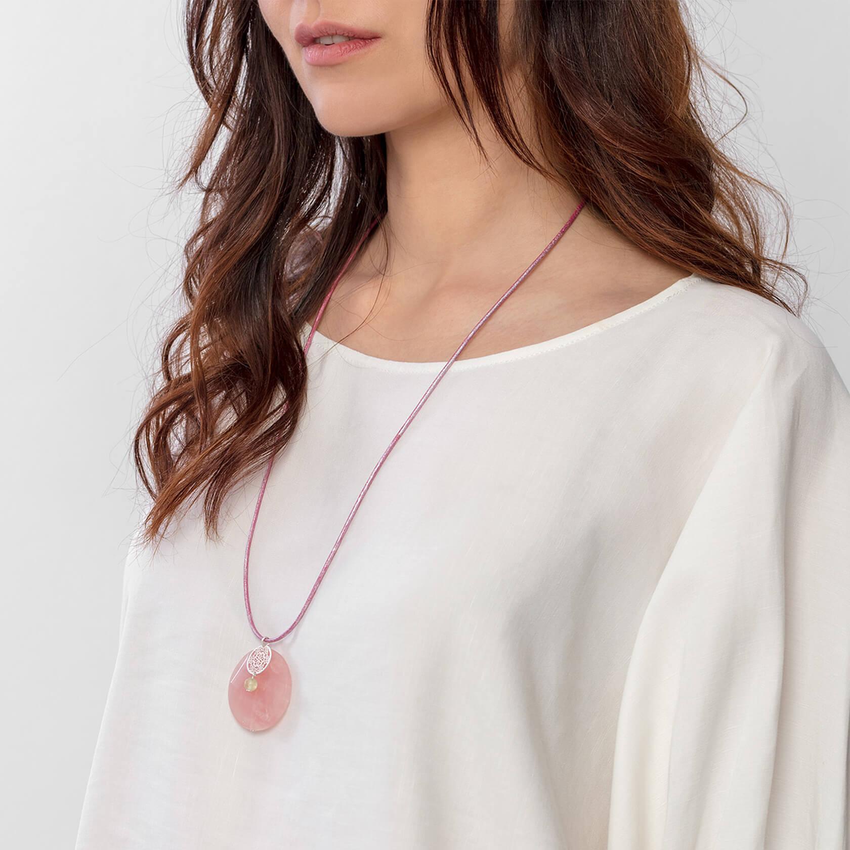 Sakura rose quartz pendant