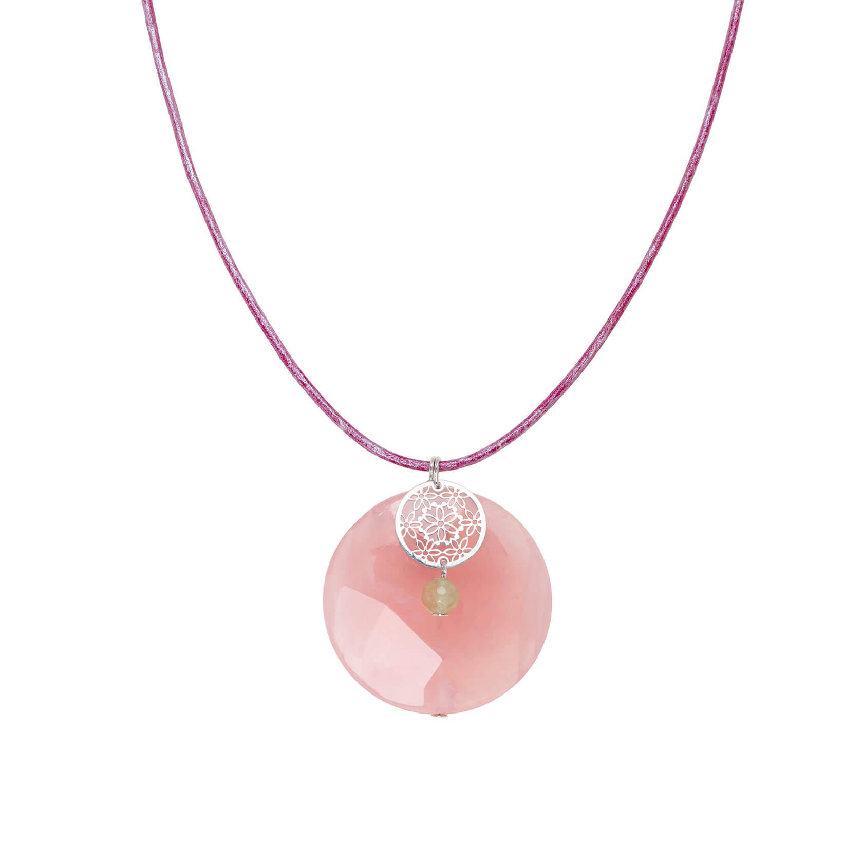 colgante cuarzo rosa