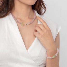 Rose quartz and prehnite necklace marybola
