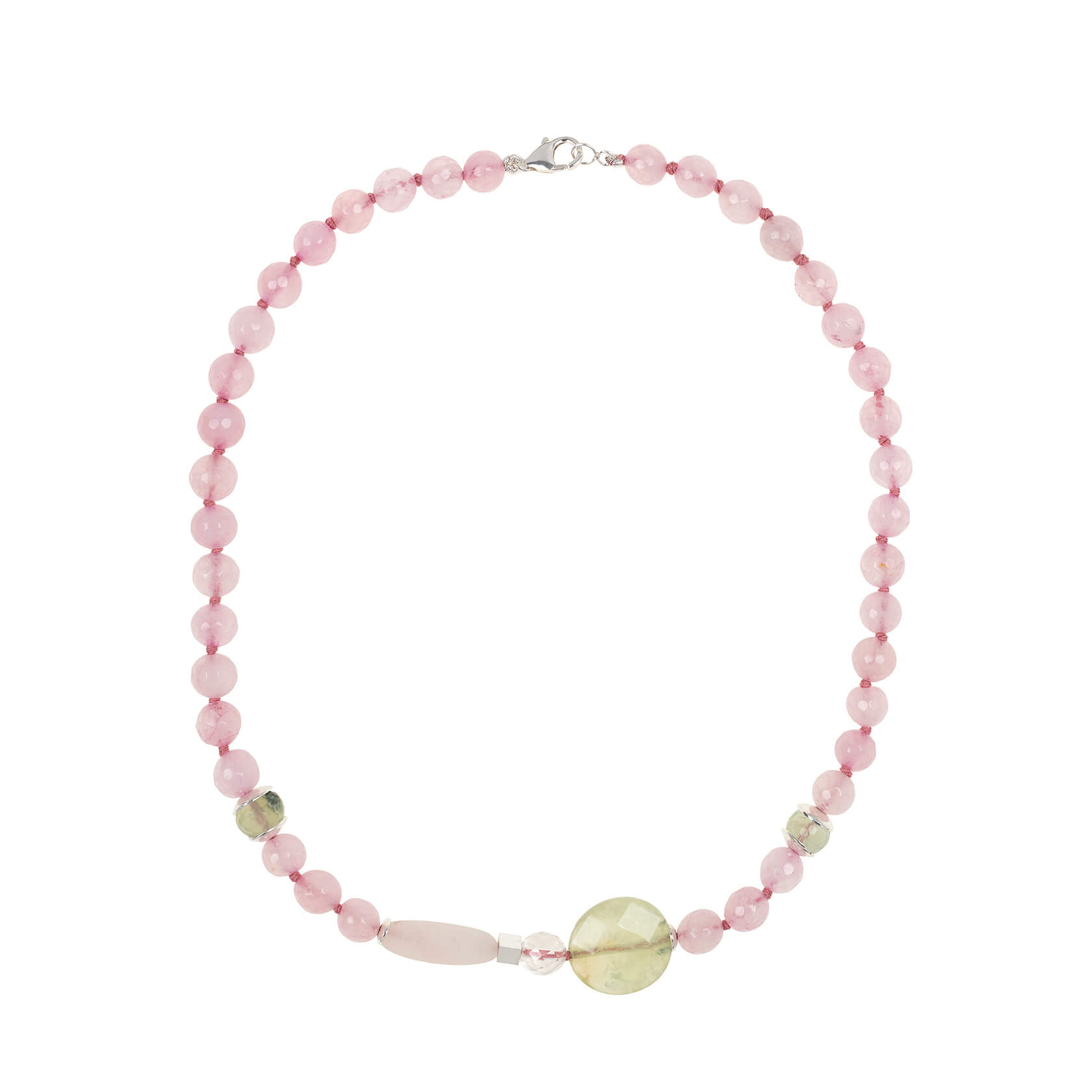 Rose quartz and prehnite necklace