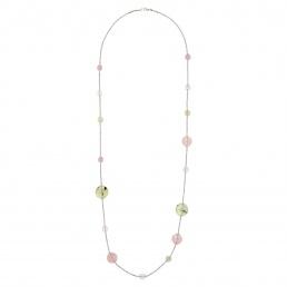 collar largo cuarzo rosa y plata