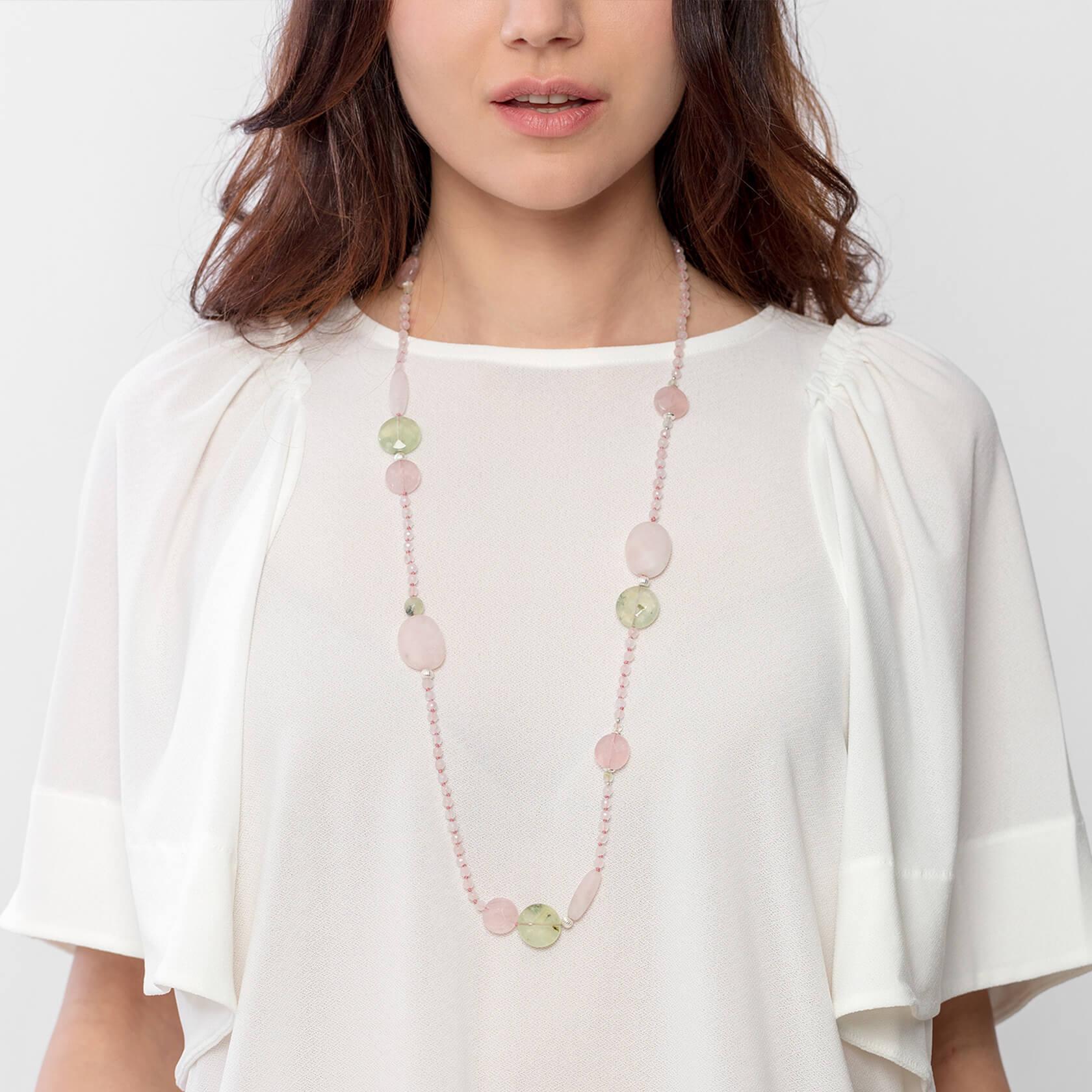 marybola long mate rose quartz necklace