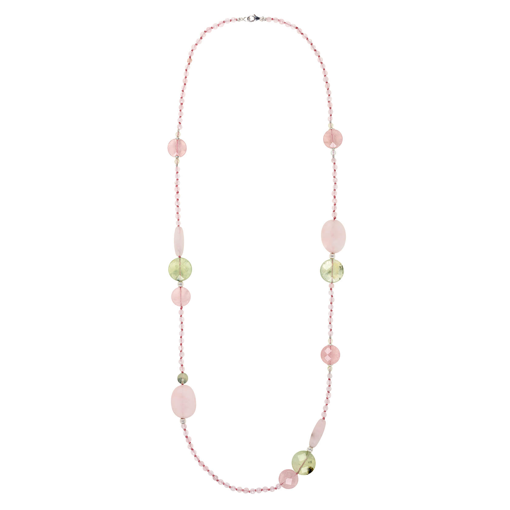 long mate rose quartz necklace