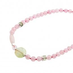 Rose quartz and prehnite Sakura necklace