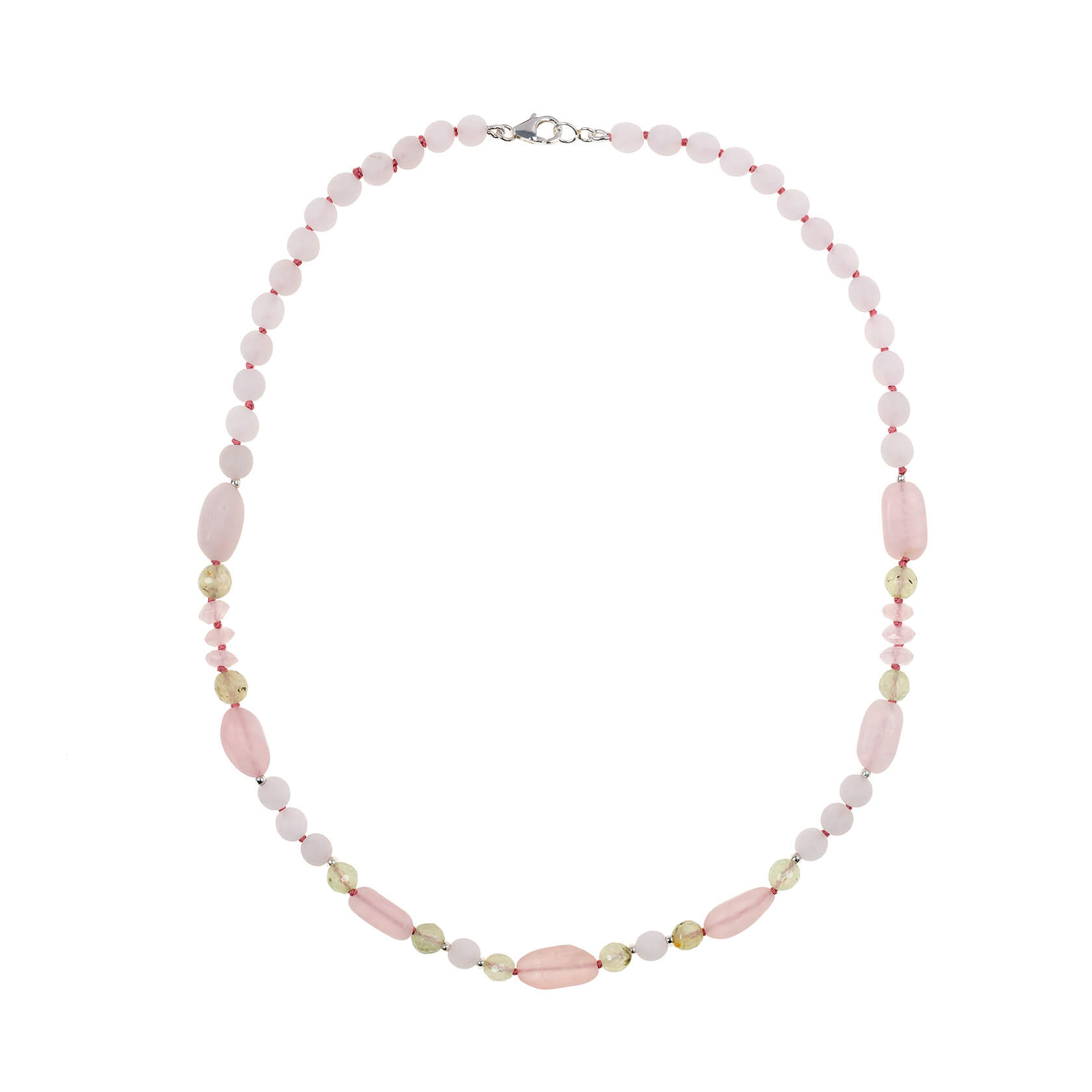 rose quartz shot necklace