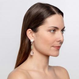 rose quartz earrings button clasp