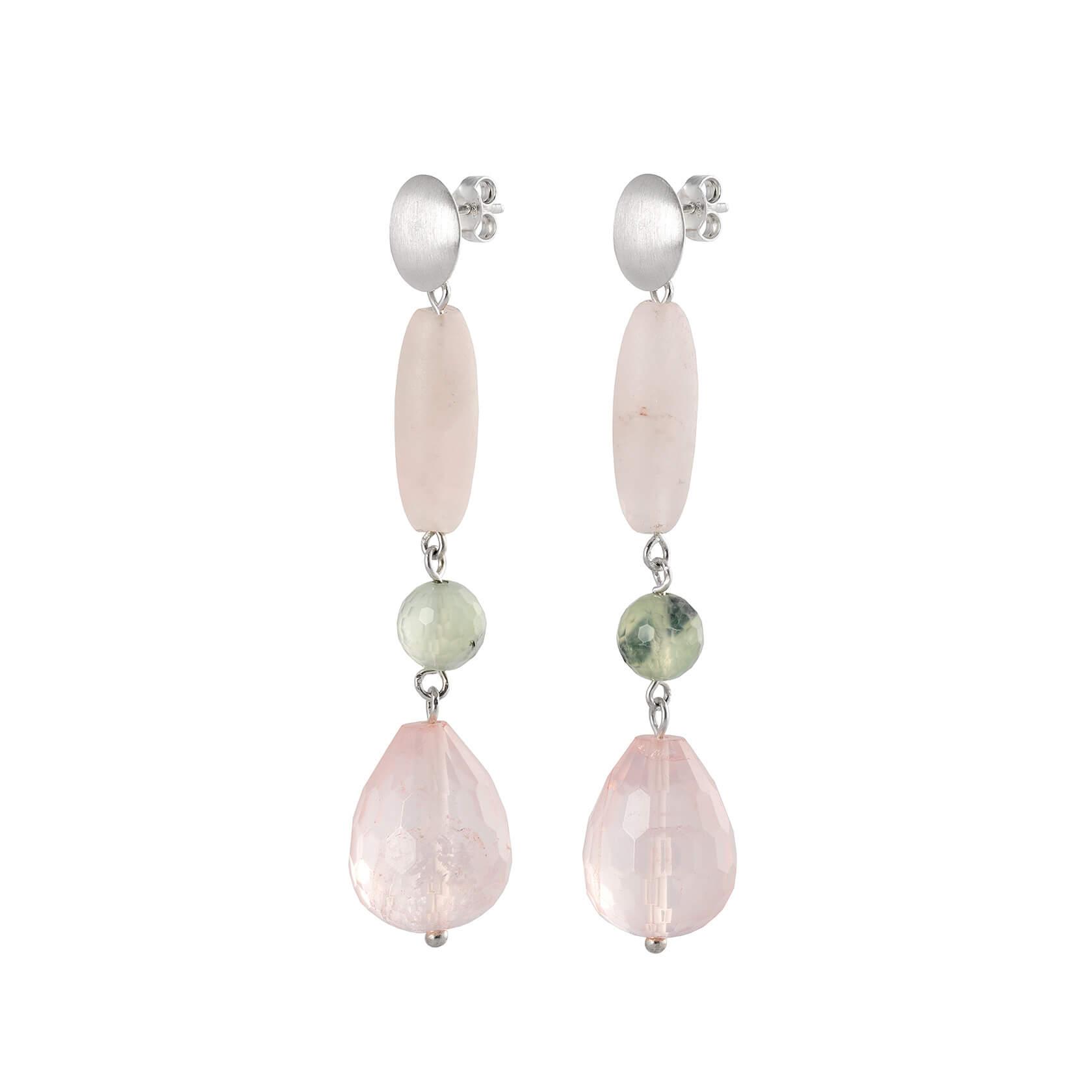 long rose quartz earring
