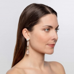 marybola long rose quartz earrings