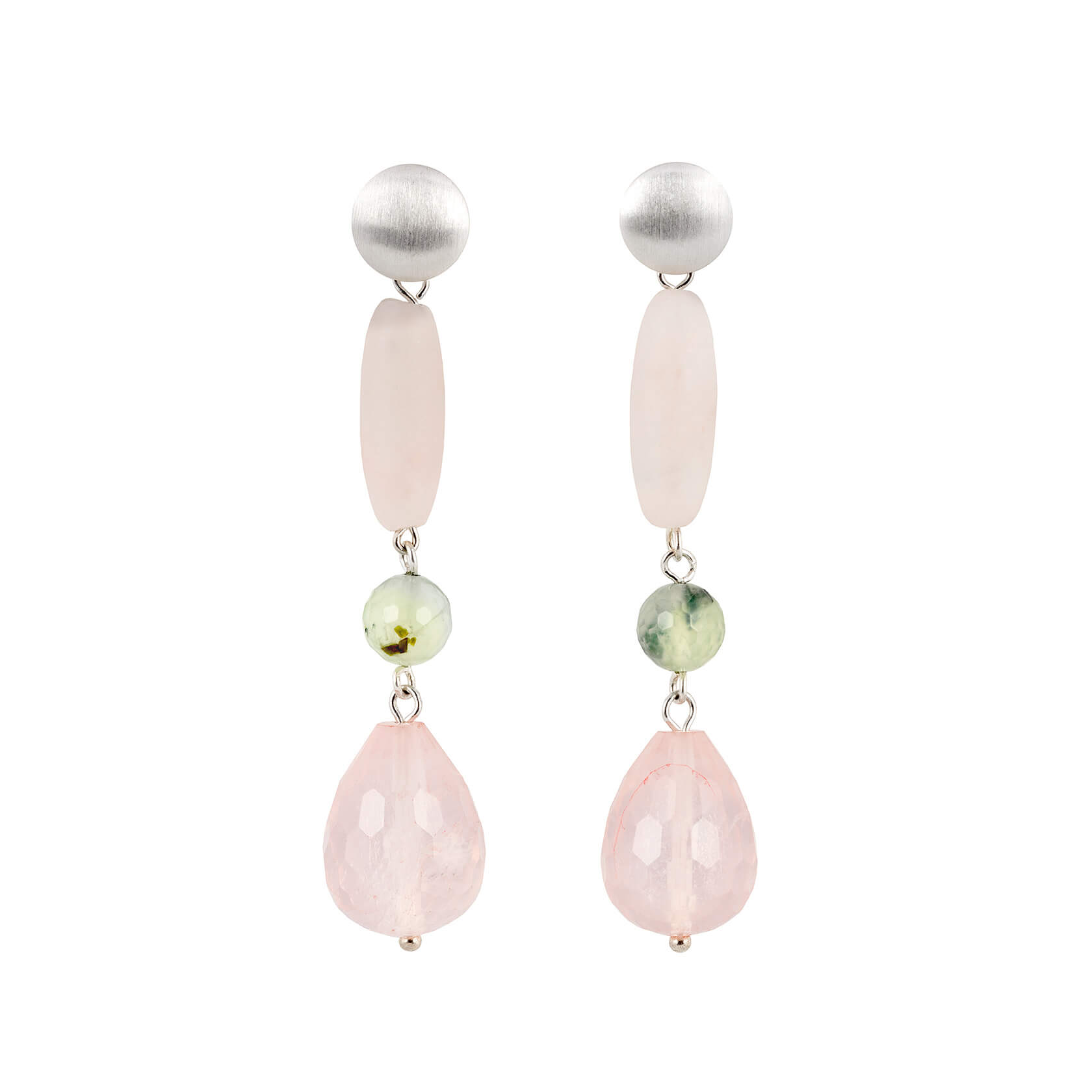 long rose quartz earrings
