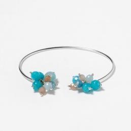 Blue quartz rigid bracelet