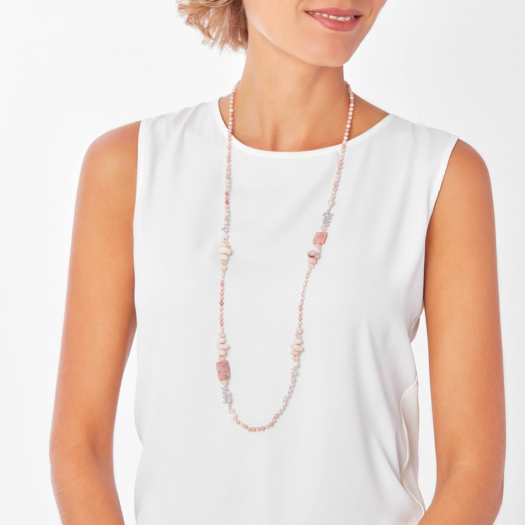 Morganite and rose opal long necklace