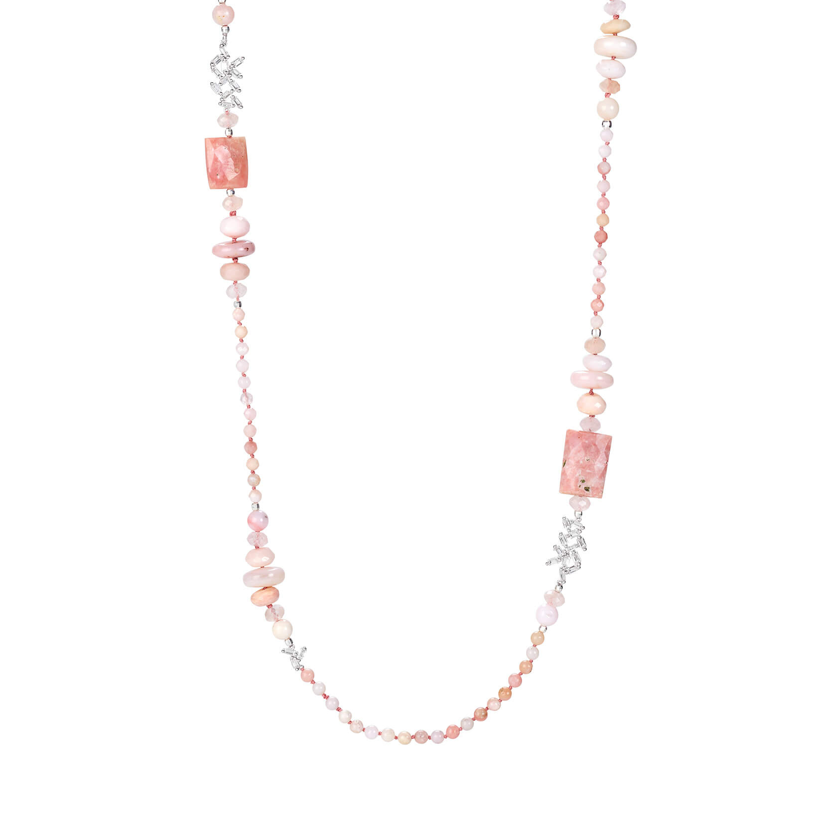 Long necklace made of rose opal