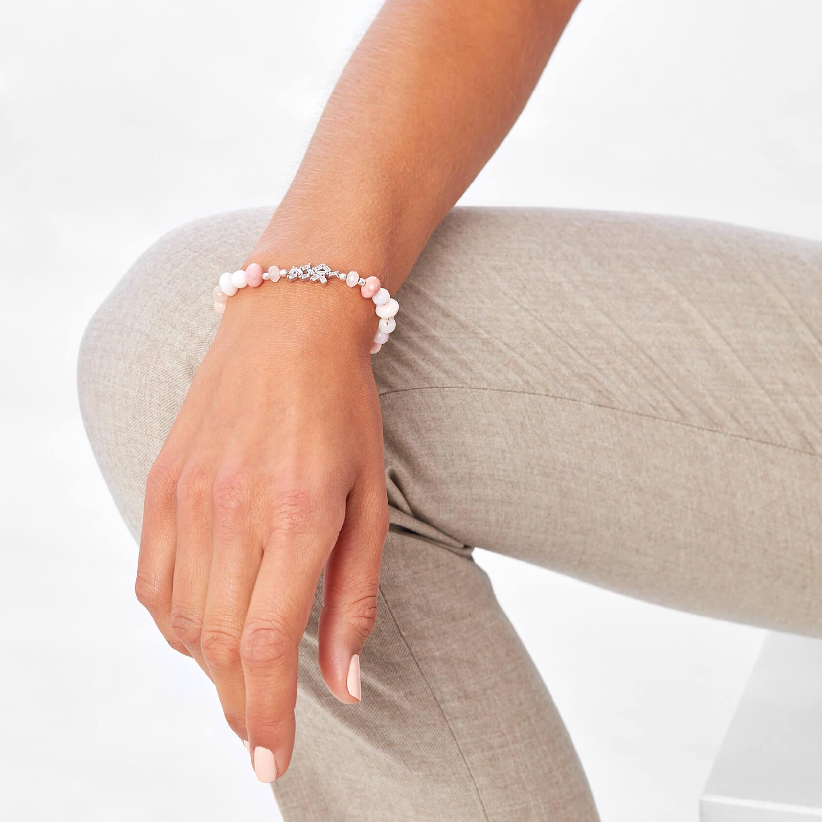 Rose opal and morganite bracelet