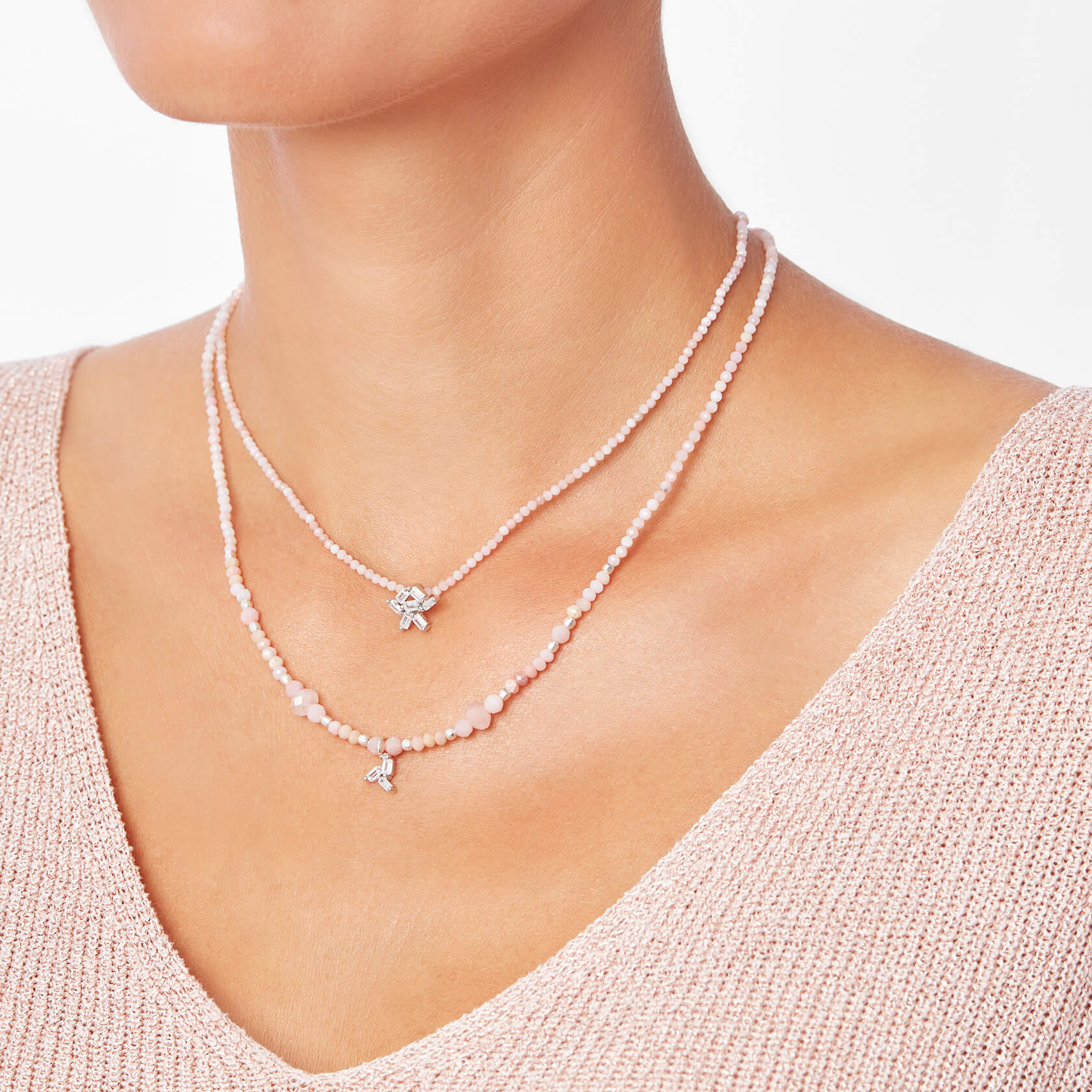 collar corto ópalo rosa