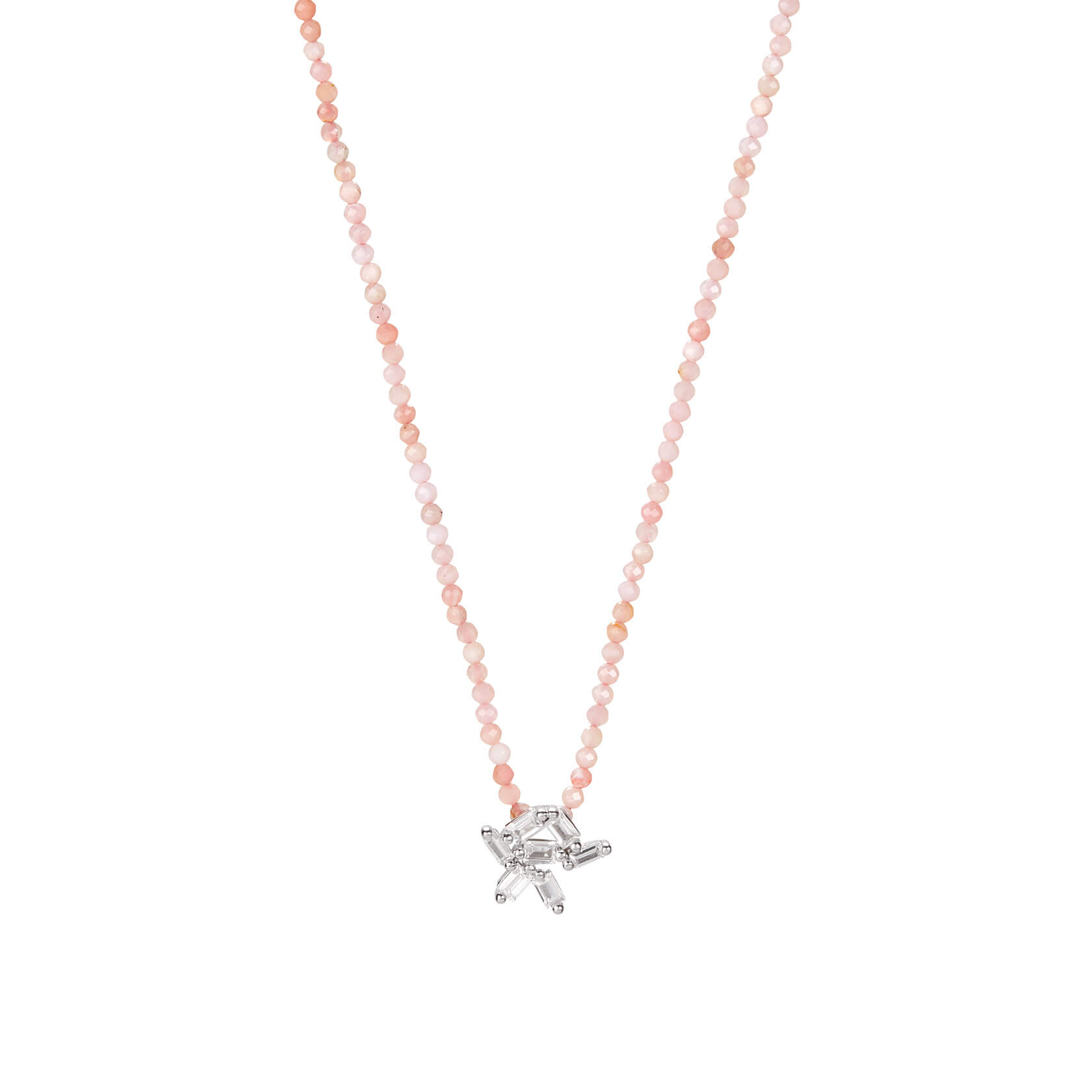 Rose opal short necklace