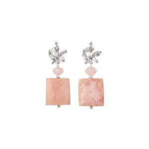 Rose opal earrings