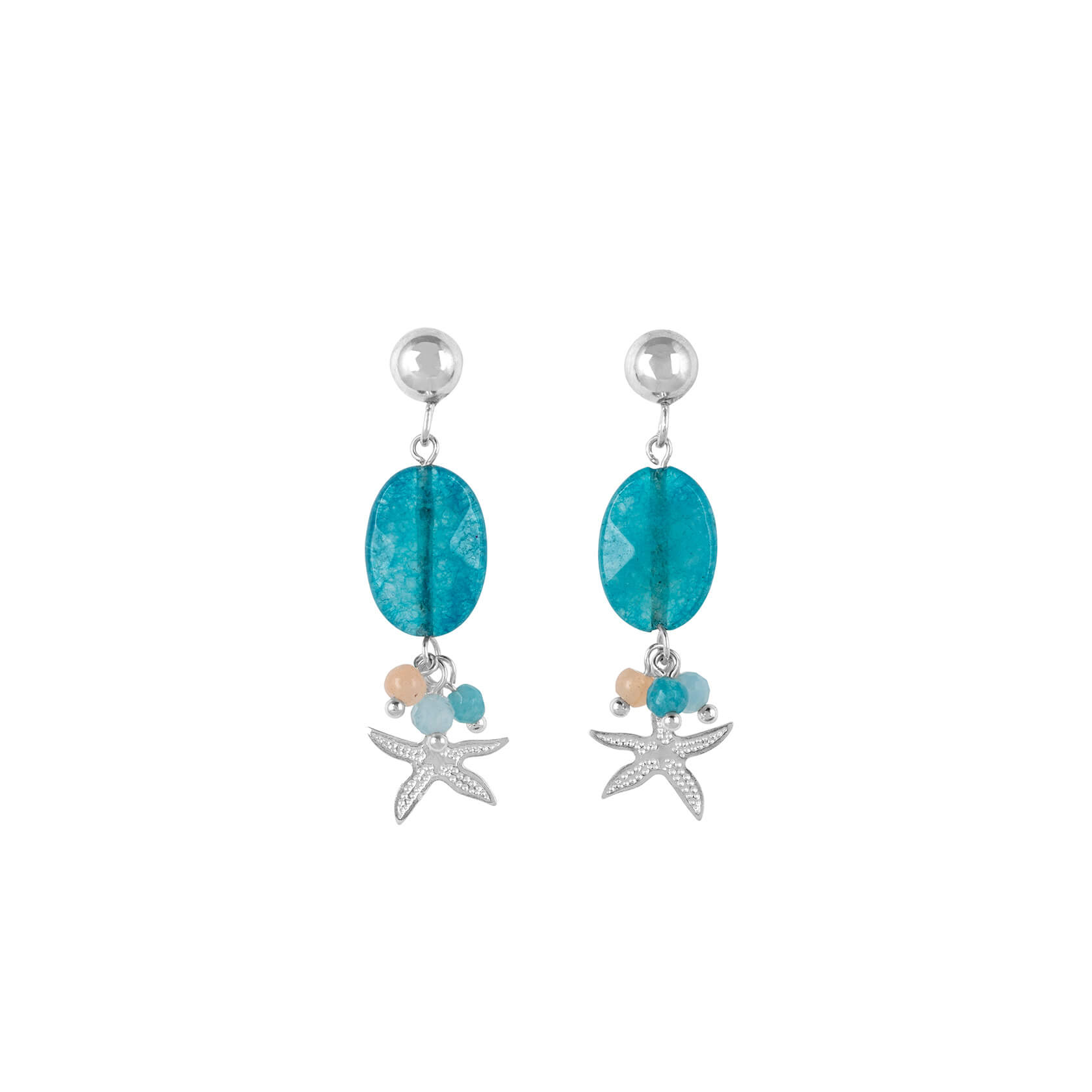 Blue quartz and starfish earrings