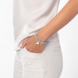 Angelite and aquamarine bracelet with starfish