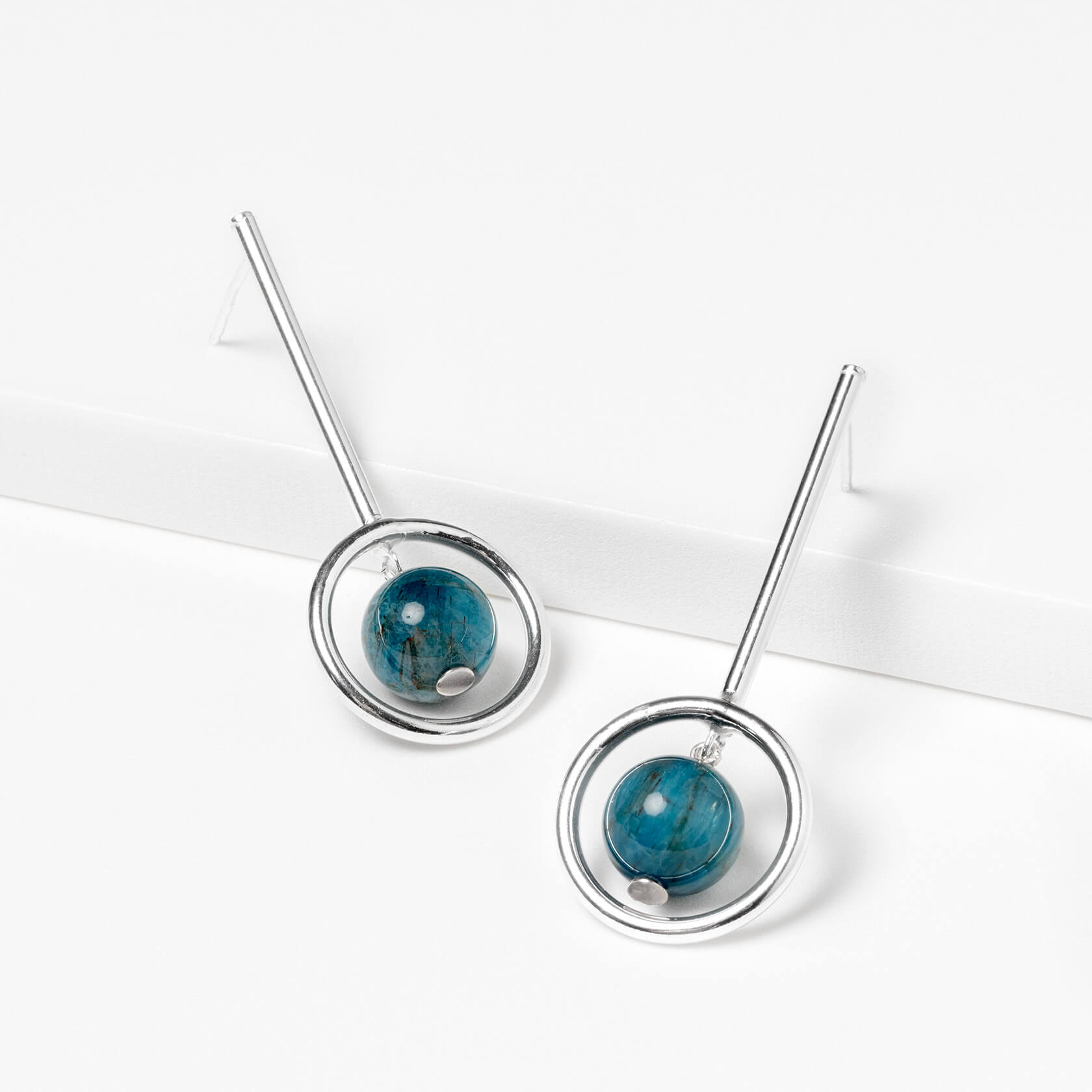 Blue apatite and silver earrings