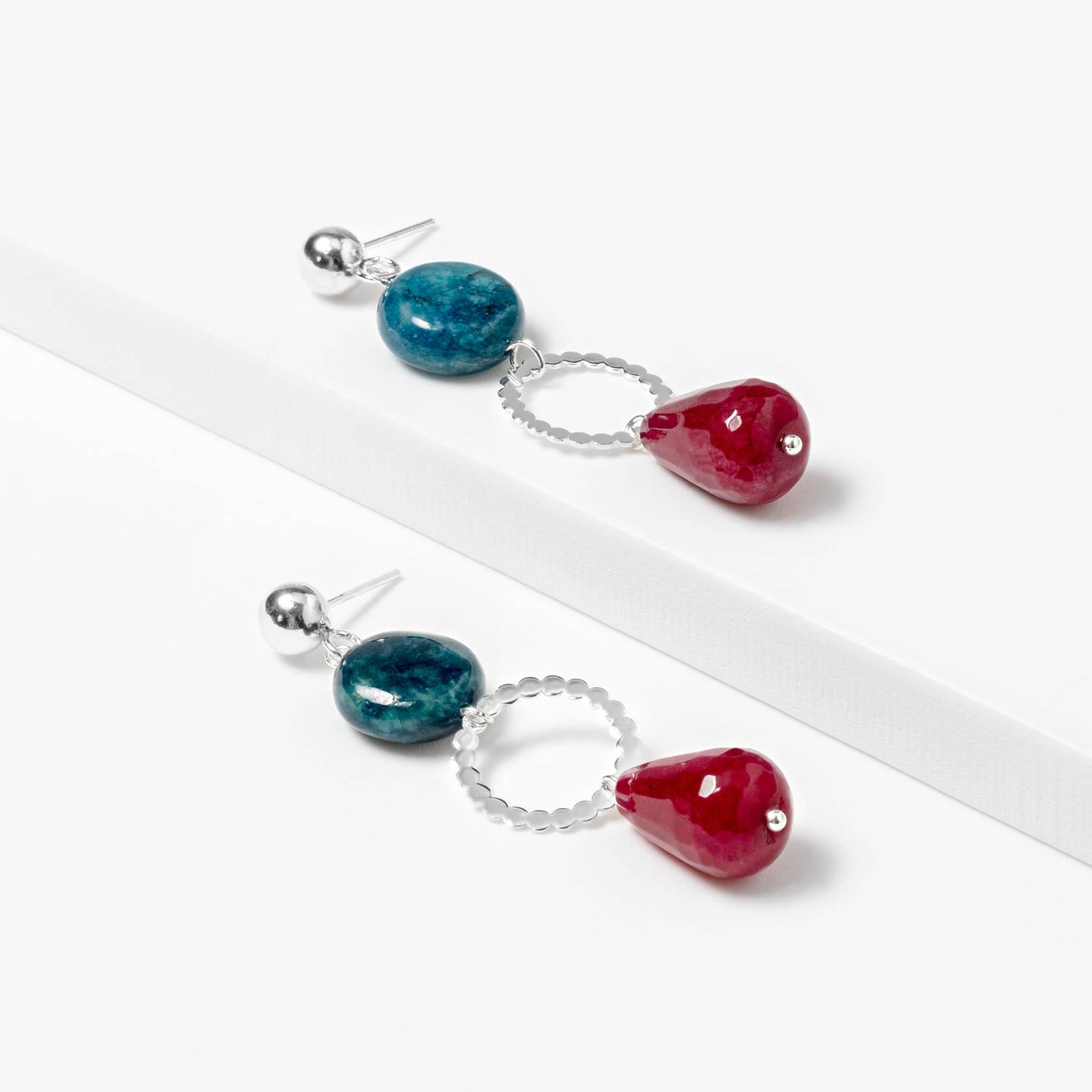Apatite and agate hoop earrings