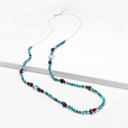 Apatite and agate necklace with chain