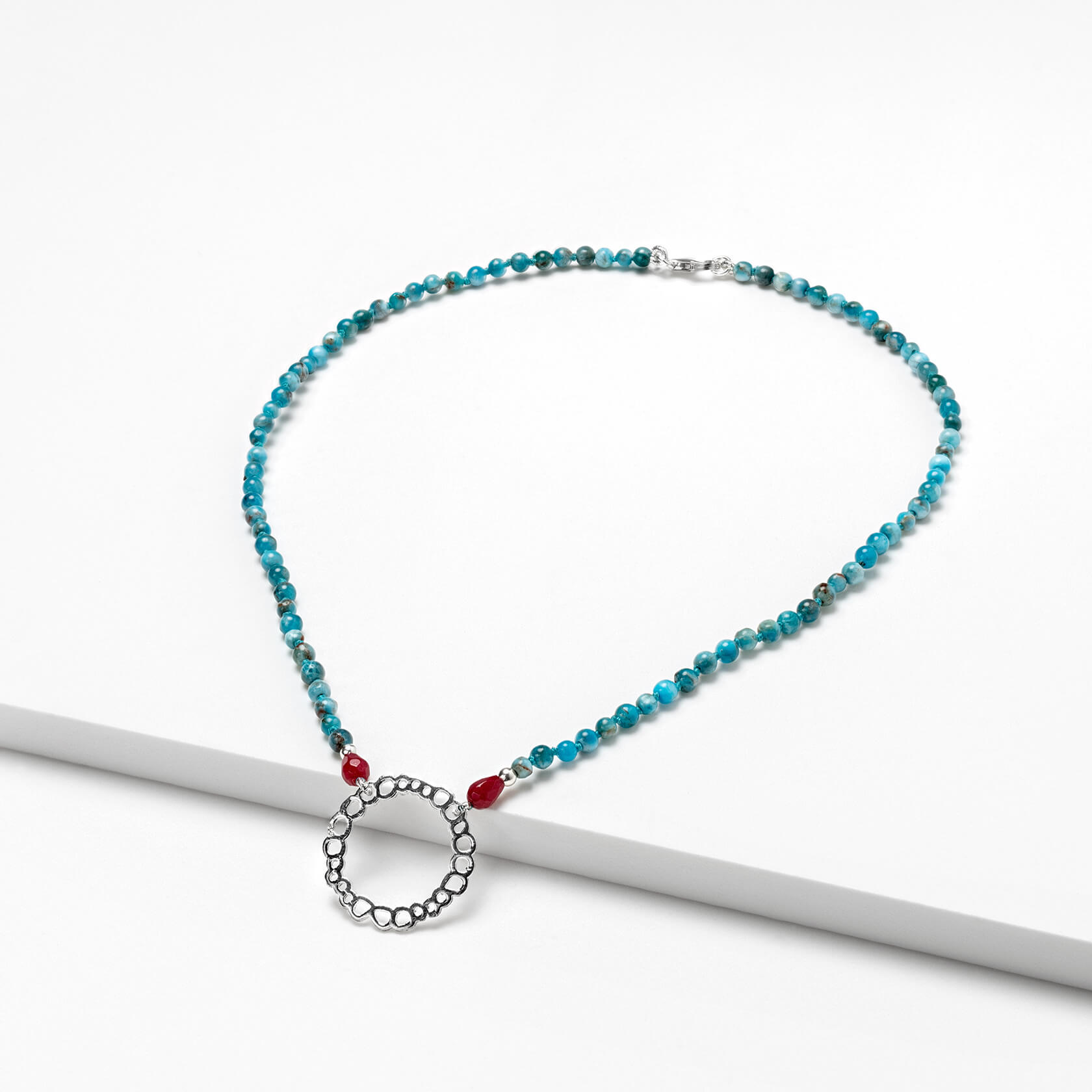 Blue apatite and agate necklace