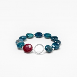 Blue apatite bracelet with silver