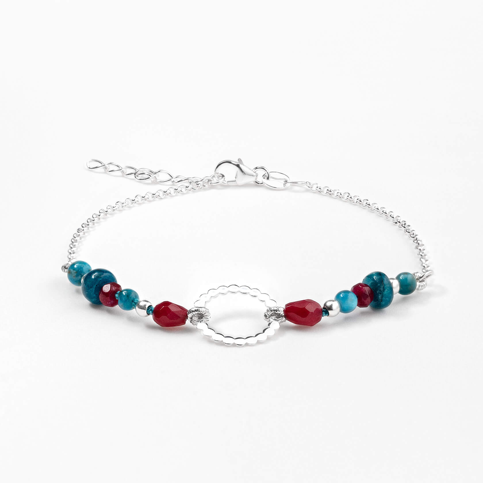 Ruby agate and blue apatite bracelet