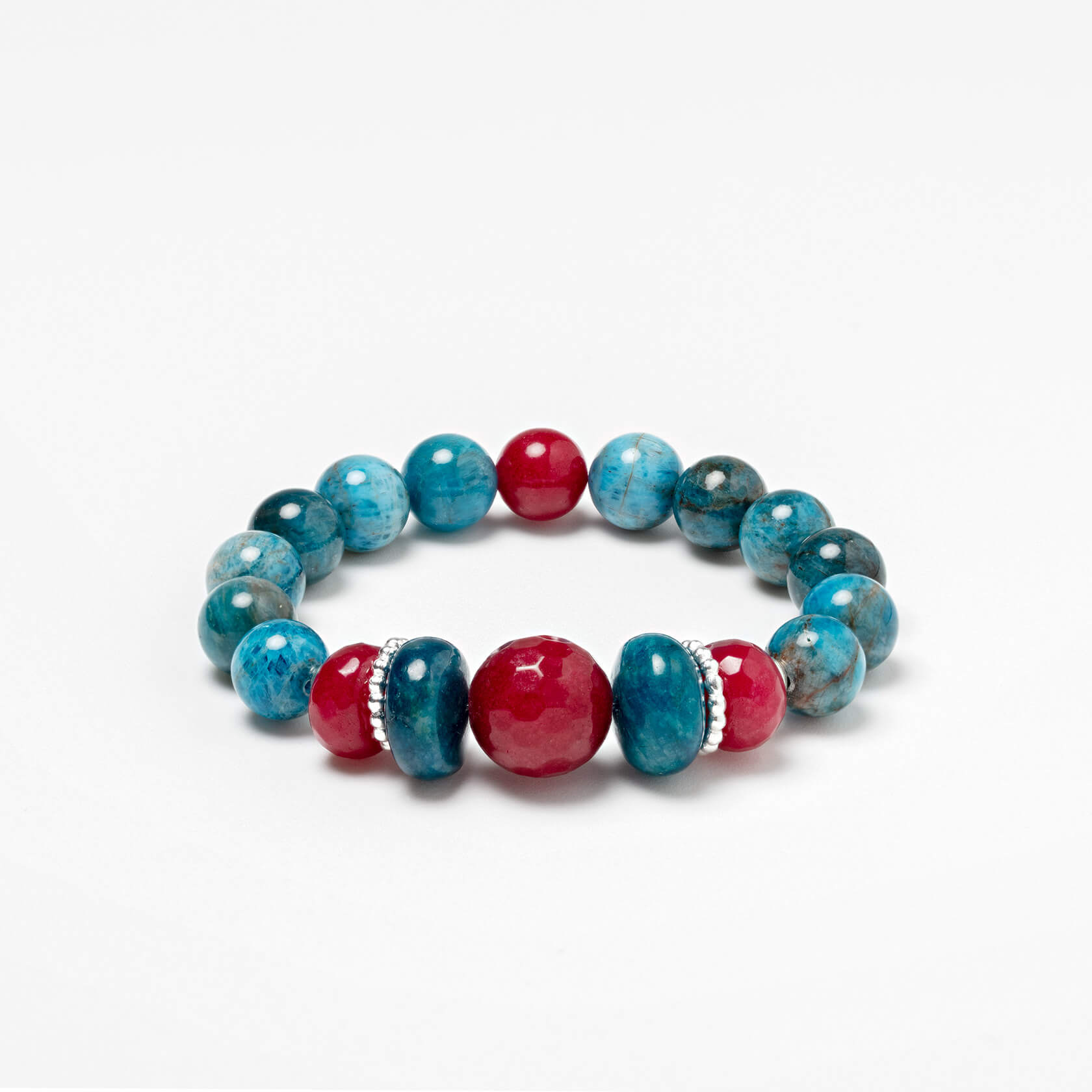 Apatite bracelet with agate