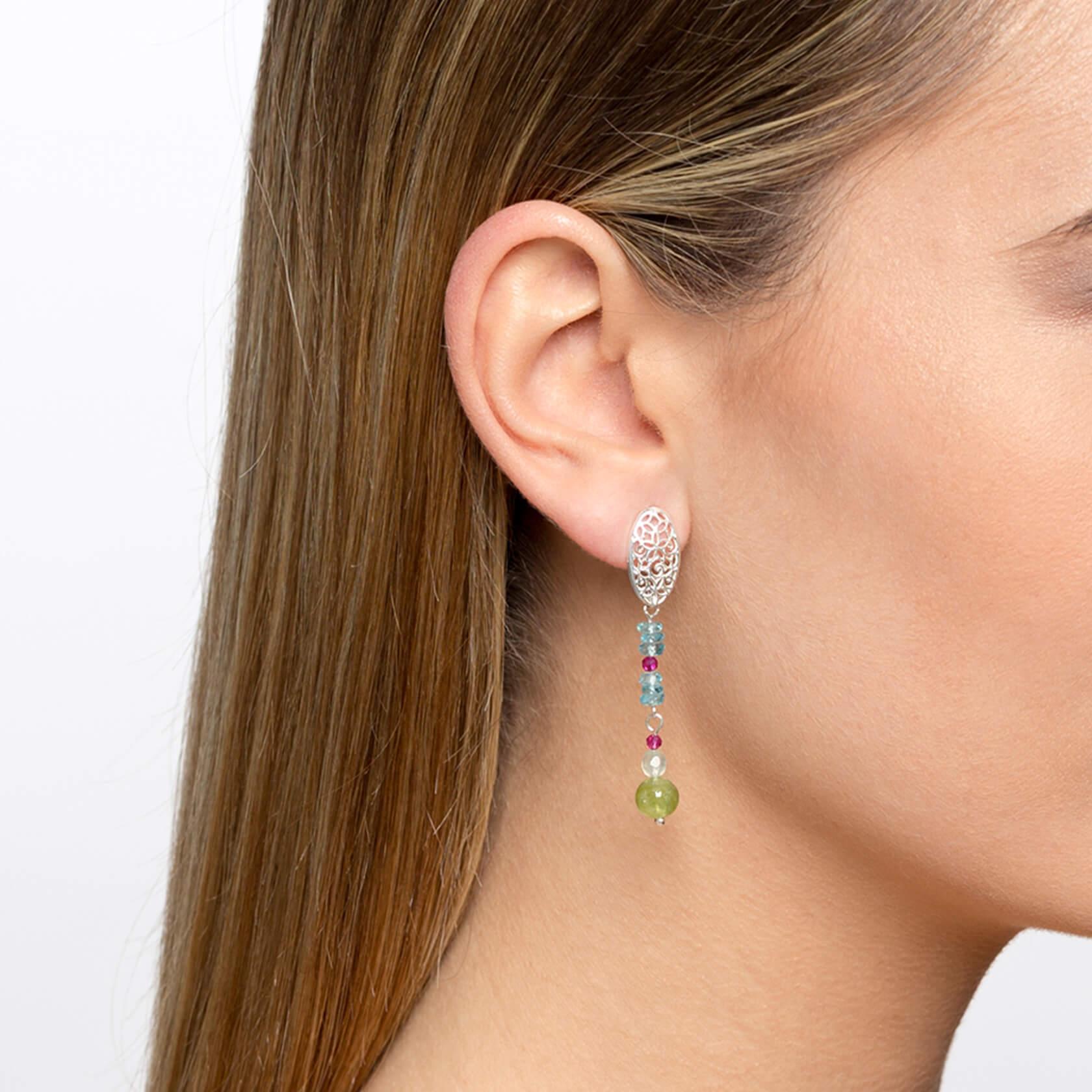 Apatite earrings with oval mandala karashi