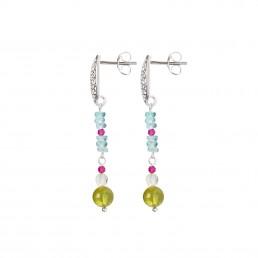 Apatite earrings with oval mandala | Marybola