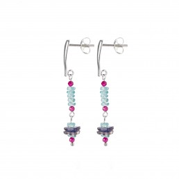 Apatite and ruby earrings