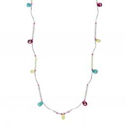 Karashi gemstone drops long necklace