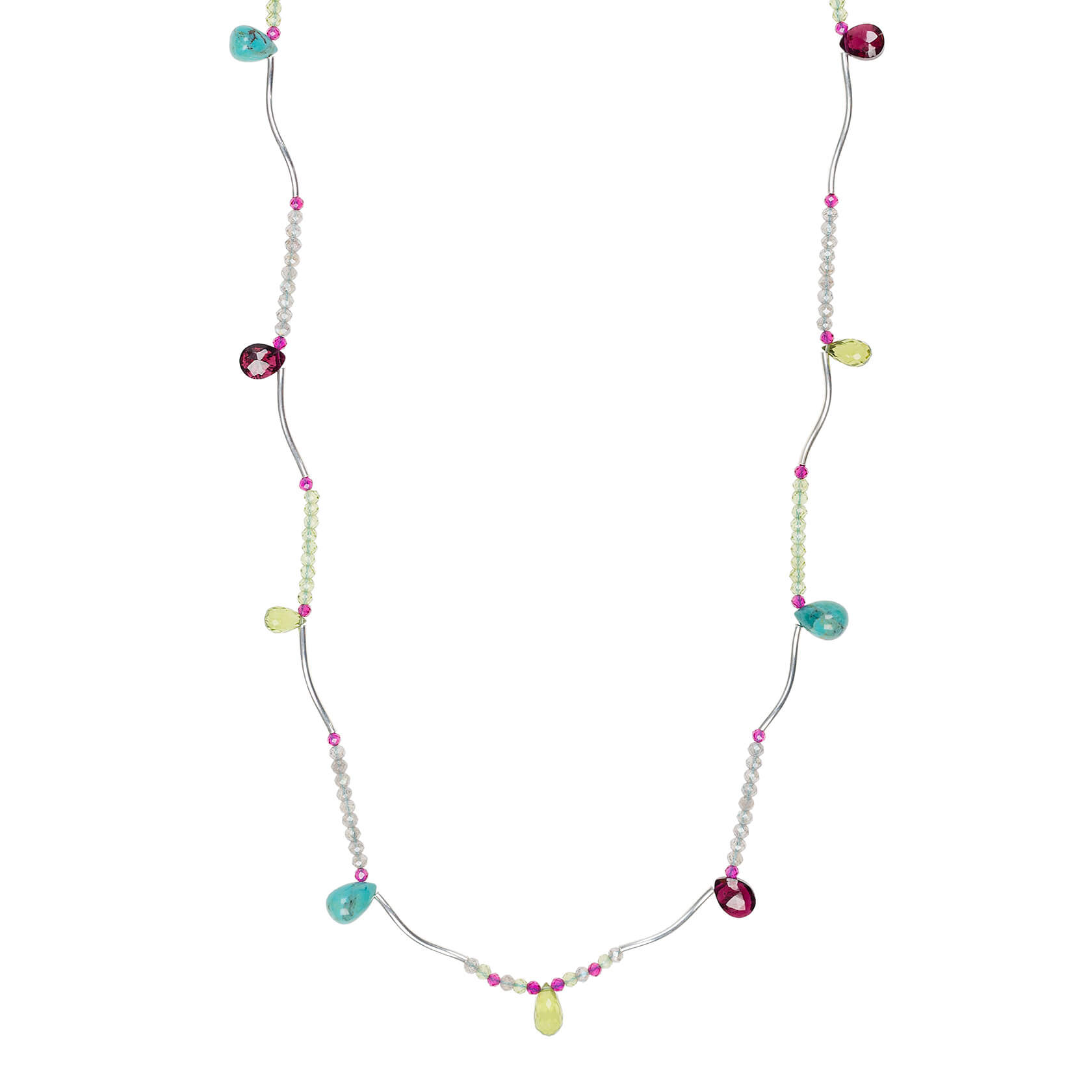 Karashi gemstone drops long necklace